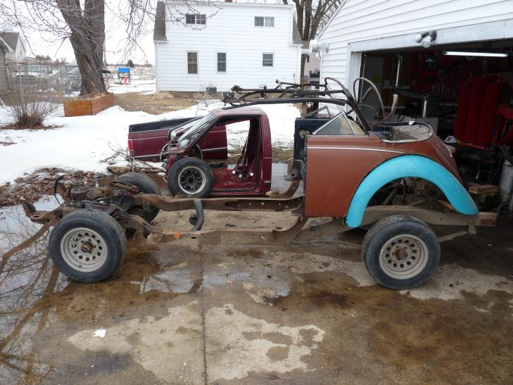 Our 350 chevy V8 Powered 1969 VW Beetle Hot Rod Project sitting in my driveway